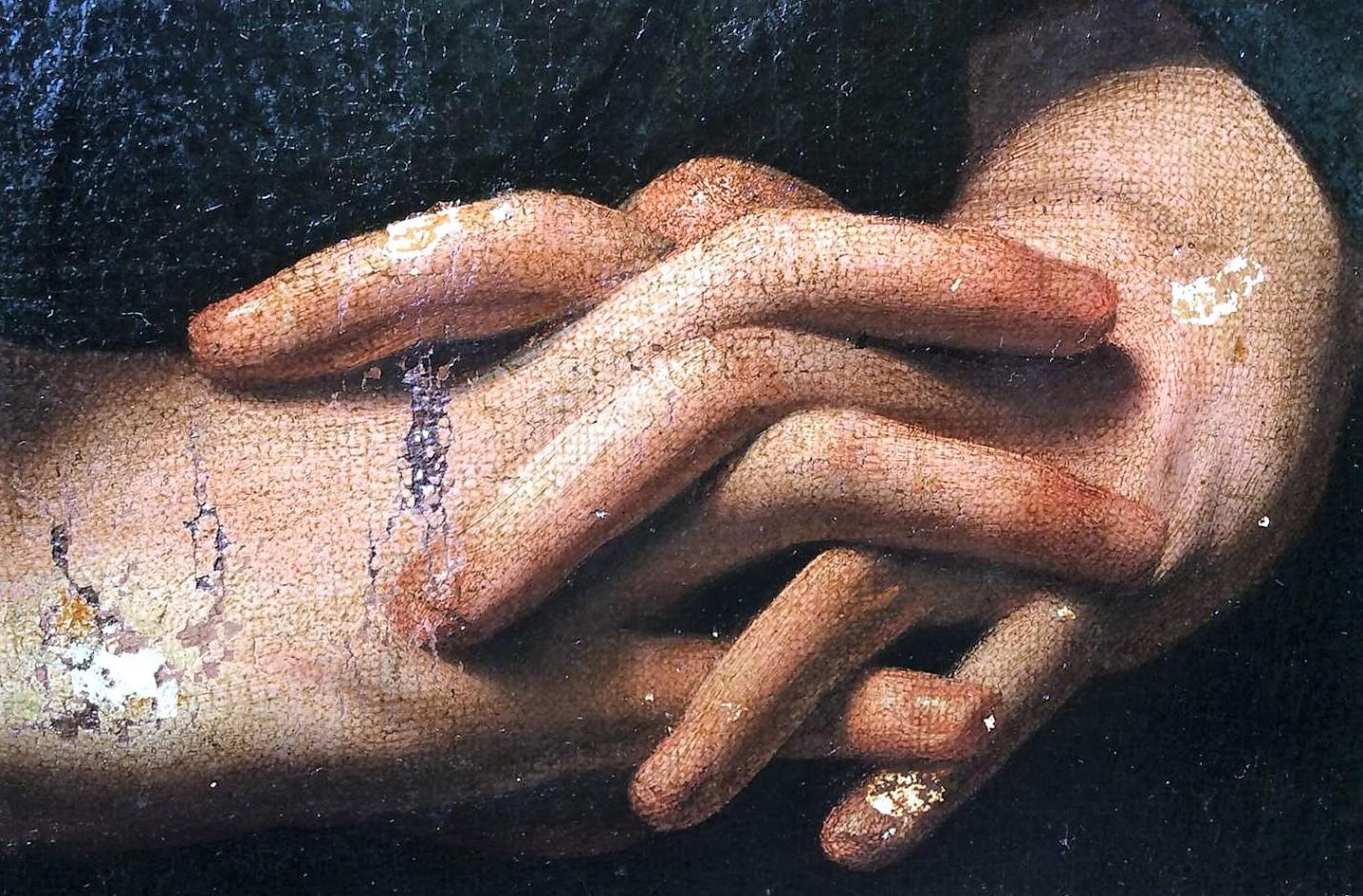 Cattura di Cristo di Odessa, dettaglio delle mani di Cristo (durante il restauro). Ph. Credit Nataliia Chechykova