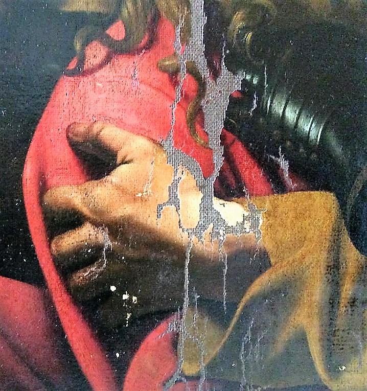 Cattura di Cristo di Odessa, dettaglio della mano di Giuda (durante il restauro). Ph. Credit Nataliia Chechykova