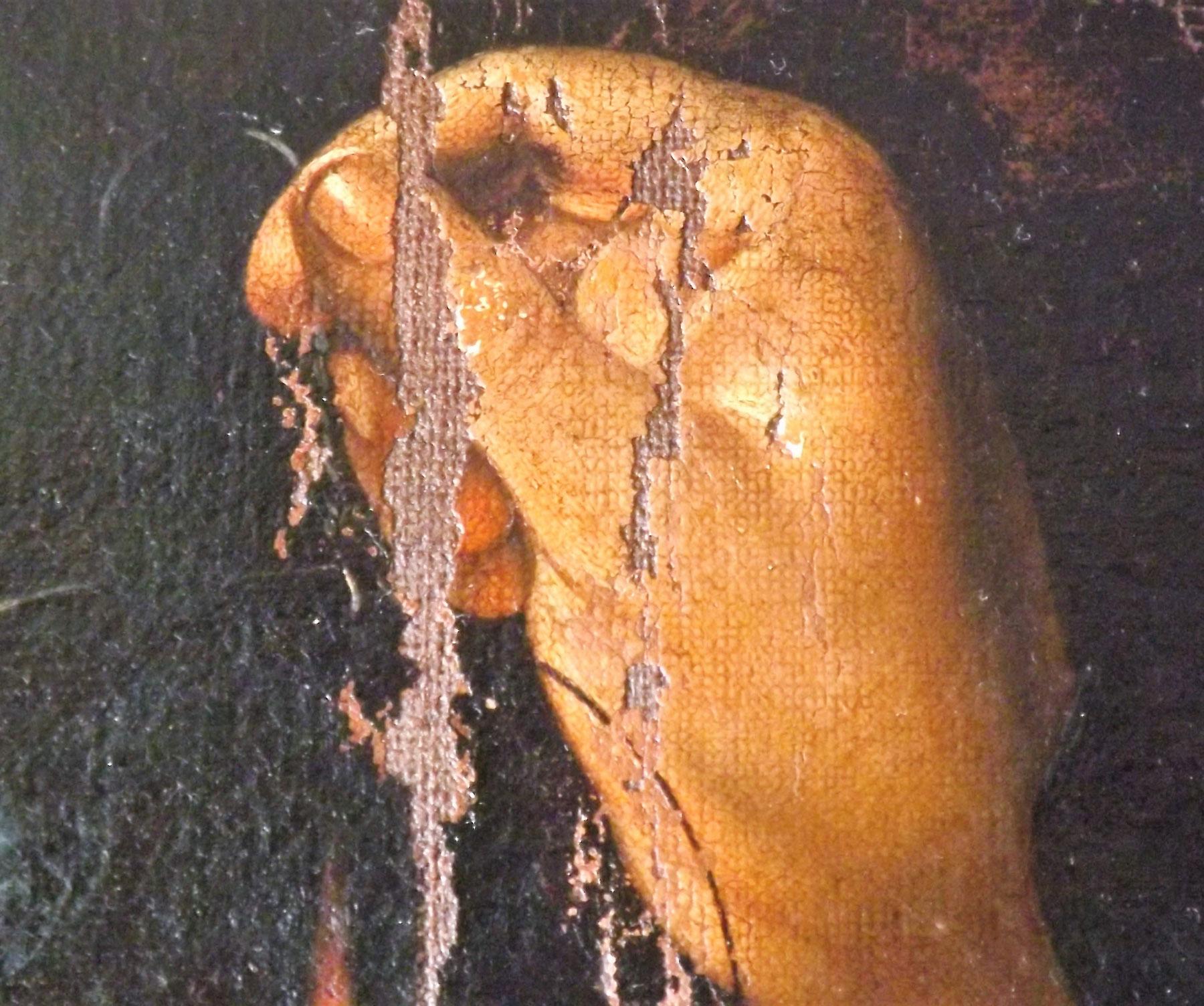 Cattura di Cristo di Odessa, dettaglio della mano del servo (durante il restauro). Ph. Credit Nataliia Chechykova
