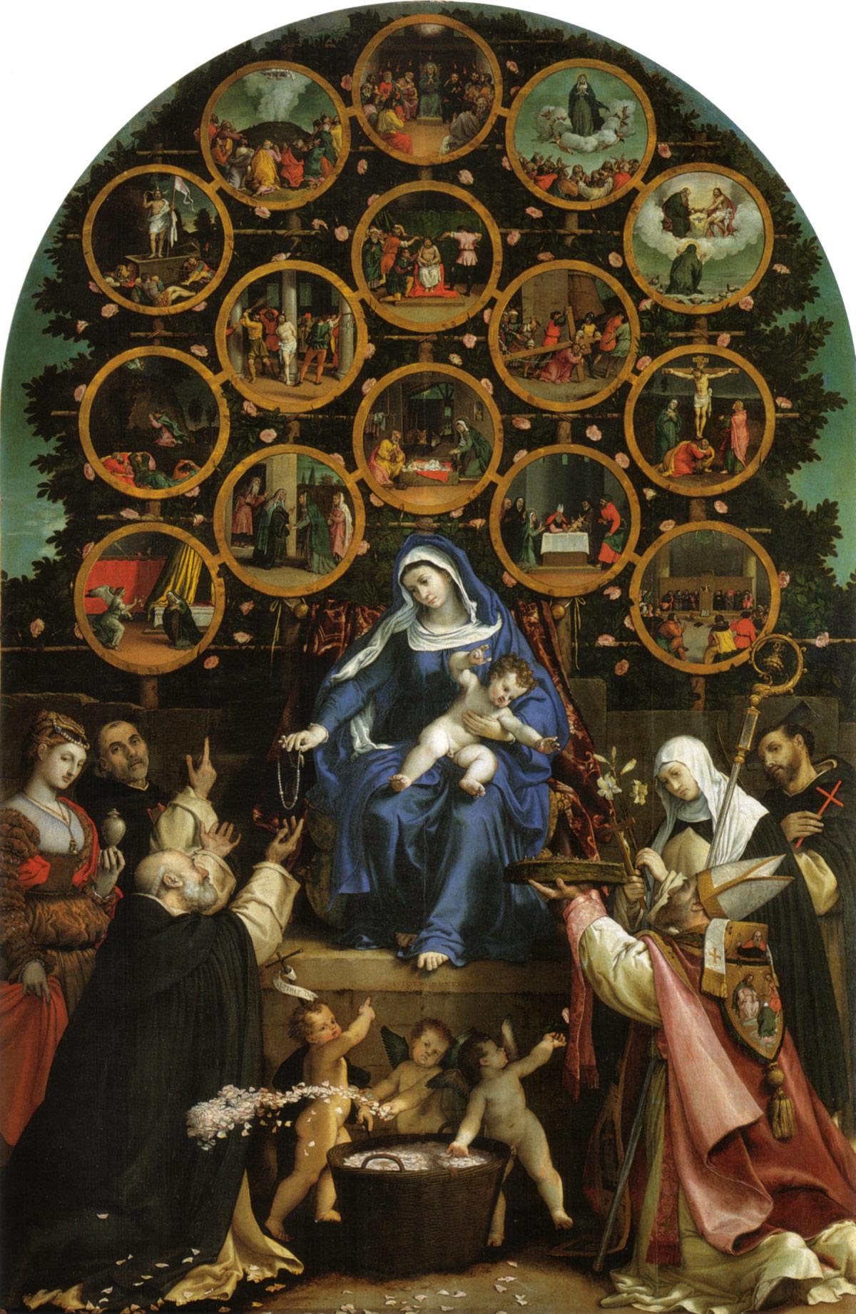 Lorenzo Lotto, Madonna del Rosario (1539; olio su tela, 384 x 264 cm; Cingoli, Palazzo Comunale)