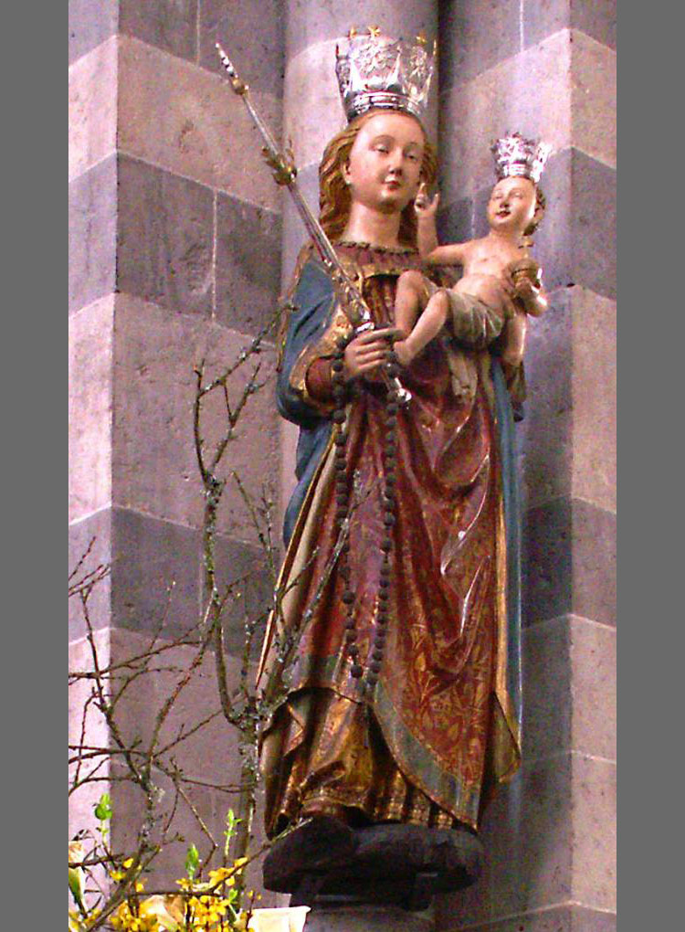 Artista tedesco del XV secolo, Madonna del Rosario (1475 circa; legno policrono; Colonia, Sankt Andreas)