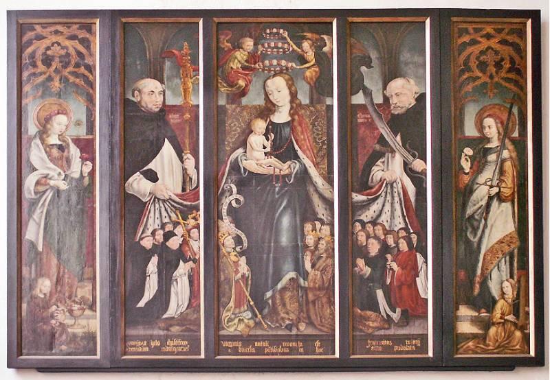 Maestro di Sankt Severin, Madonna del Rosario (1510 circa; tavola; Colonia, Sankt Andreas)