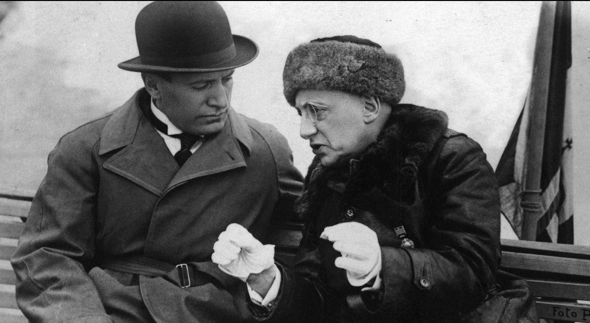 Gabriele d'Annunzio con Benito Mussolini
