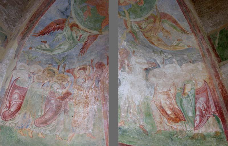Ascensione, dettagli con le figure degli apostoli (chiesa di Santa Maria di Cerrate)