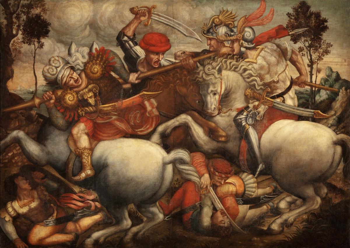 Ambito del Sodoma, Lotta per lo stendardo, dalla Battaglia di Anghiari (XVI secolo; olio su tela, 154 x 212 cm; Firenze, Museo Horne)