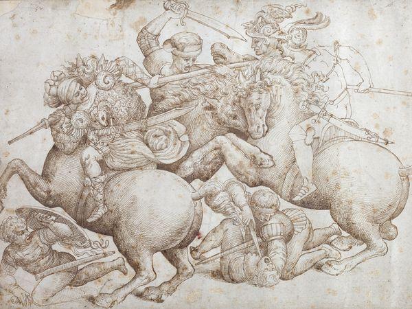 Artista anonimo, Copia della Battaglia di Anghiari di Leonardo da Vinci nota anche come Copia Rucellai (XVI secolo; disegno a penna, 290 x 430 mm; Milano, collezione privata, già a Firenze, Collezione Rucellai)