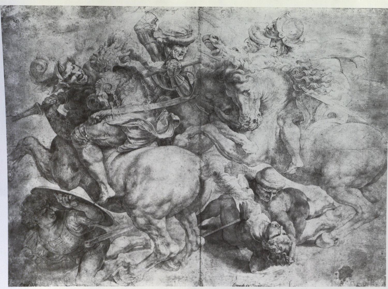 Artista anonimo, Copia della Battaglia di Anghiari di Leonardo da Vinci (XVI secolo; gessetto, matita e penna su carta, 435 x 565 mm; L'Aia, Collezioni dei Reali dei Paesi Bassi)