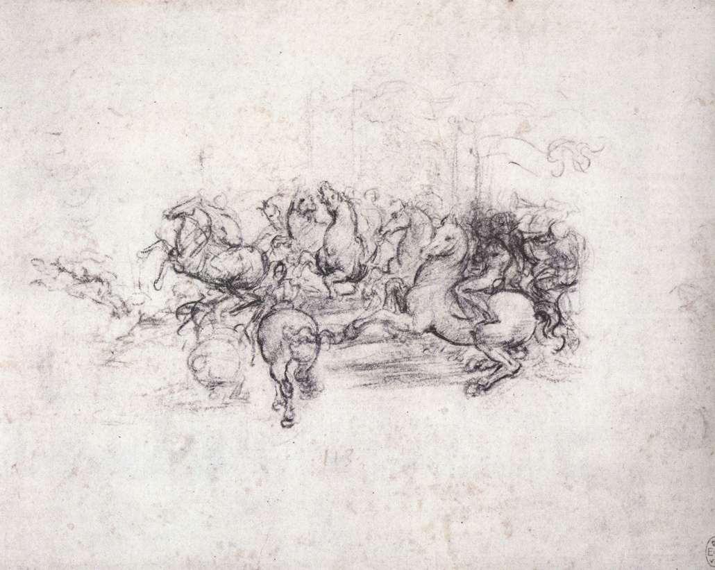 Leonardo da Vinci, Cavalieri con stendardi, studio per la Battaglia di Anghiari (1503 circa; gessetto nero su carta chiara, 160 x 197 mm; Windsor, Royal Library)