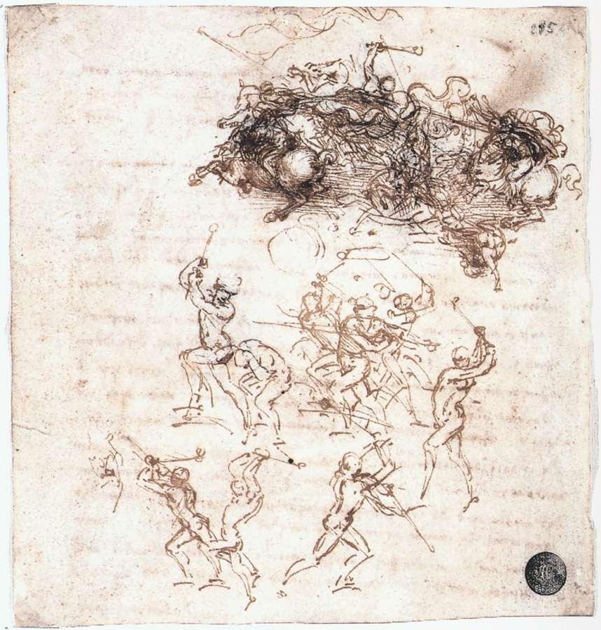 Leonardo da Vinci, Cavalieri in lotta, studio per la Battaglia di Anghiari (1503 circa; penna e inchiostro nero su carta, 145 x 152 mm; Venezia, Gallerie dell'Accademia, Gabinetto dei Disegni e delle Stampe)