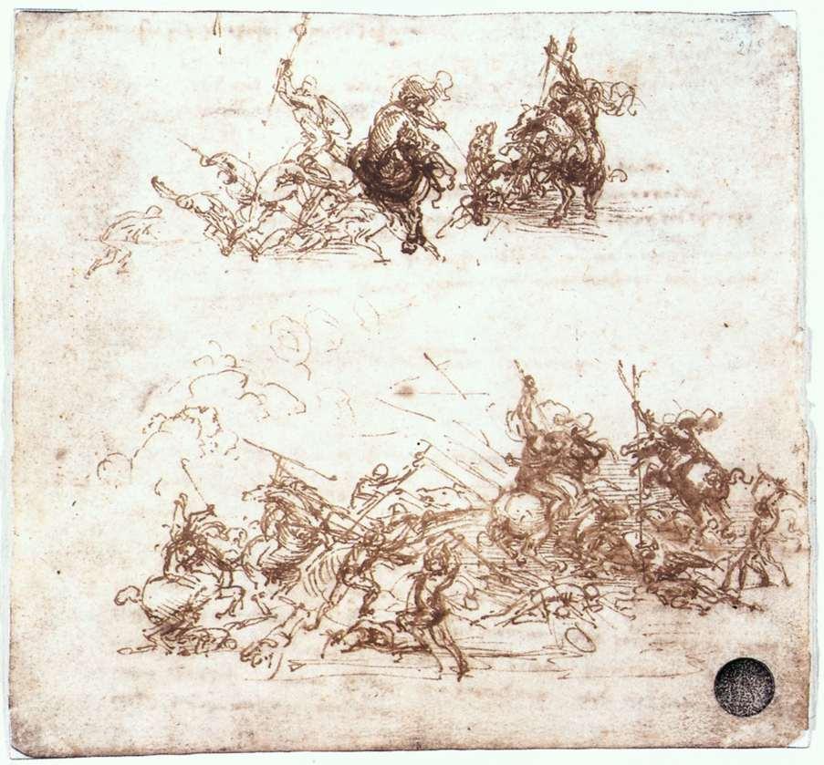 Leonardo da Vinci, Mischie di cavalieri, studio per la Battaglia di Anghiari (1503 circa; penna e inchiostro nero su carta, 145 x 152 mm; Venezia, Gallerie dell'Accademia, Gabinetto dei Disegni e delle Stampe)