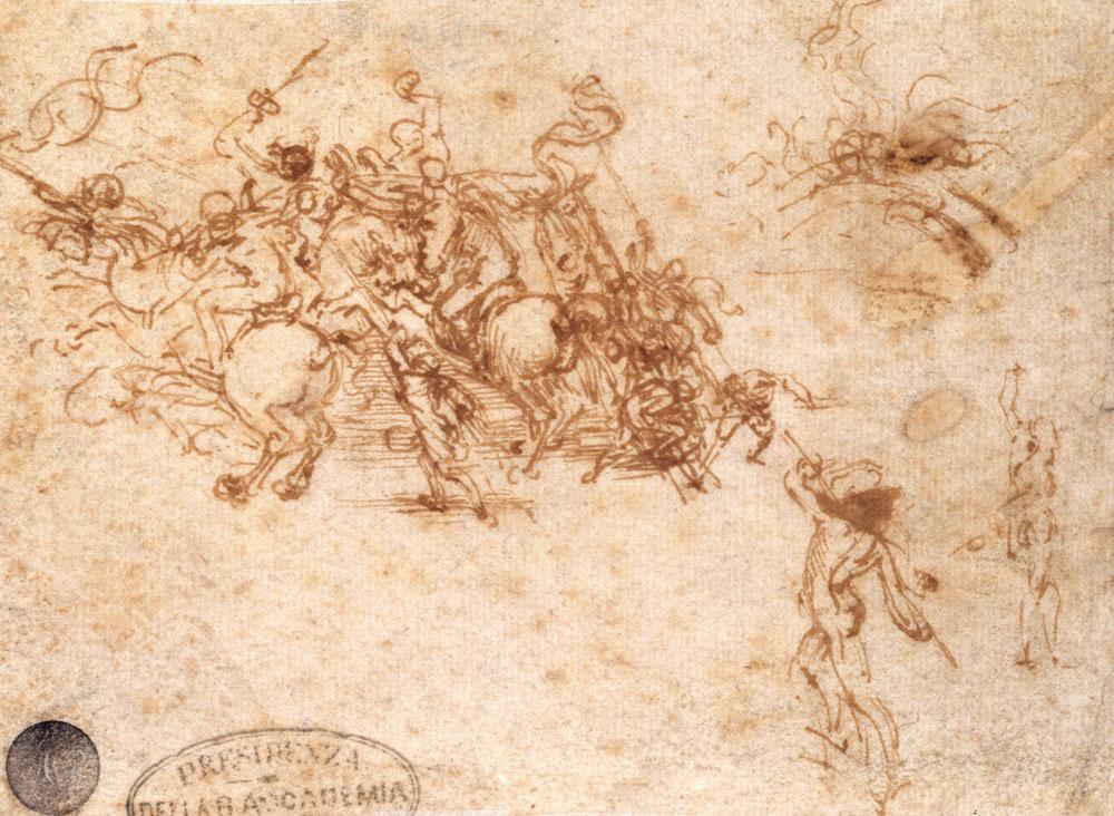 Leonardo da Vinci, Mischia tra cavalieri, un ponte e figure isolate, studio per la Battaglia di Anghiari (1503 circa; penna e inchiostro marrone su carta noce chiaro, 160 x 152 mm; Venezia, Gallerie dell'Accademia, Gabinetto dei Disegni e delle Stampe)