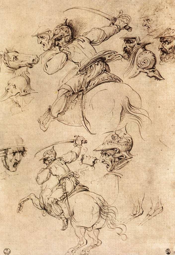 Leonardo da Vinci, Cavalieri, studio per la Battaglia di Anghiari (1503 circa; penna e inchiostro su carta; Firenze, Galleria degli Uffizi, Gabinetto dei Disegni e delle Stampe)