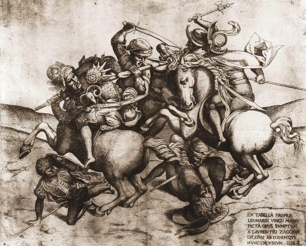 Lorenzo Zacchia il Giovane, Copia della Battaglia di Anghiari di Leonardo da Vinci (1558; incisione su rame, 374 x 470 mm; Vienna, Albertina, Graphische Sammlung)