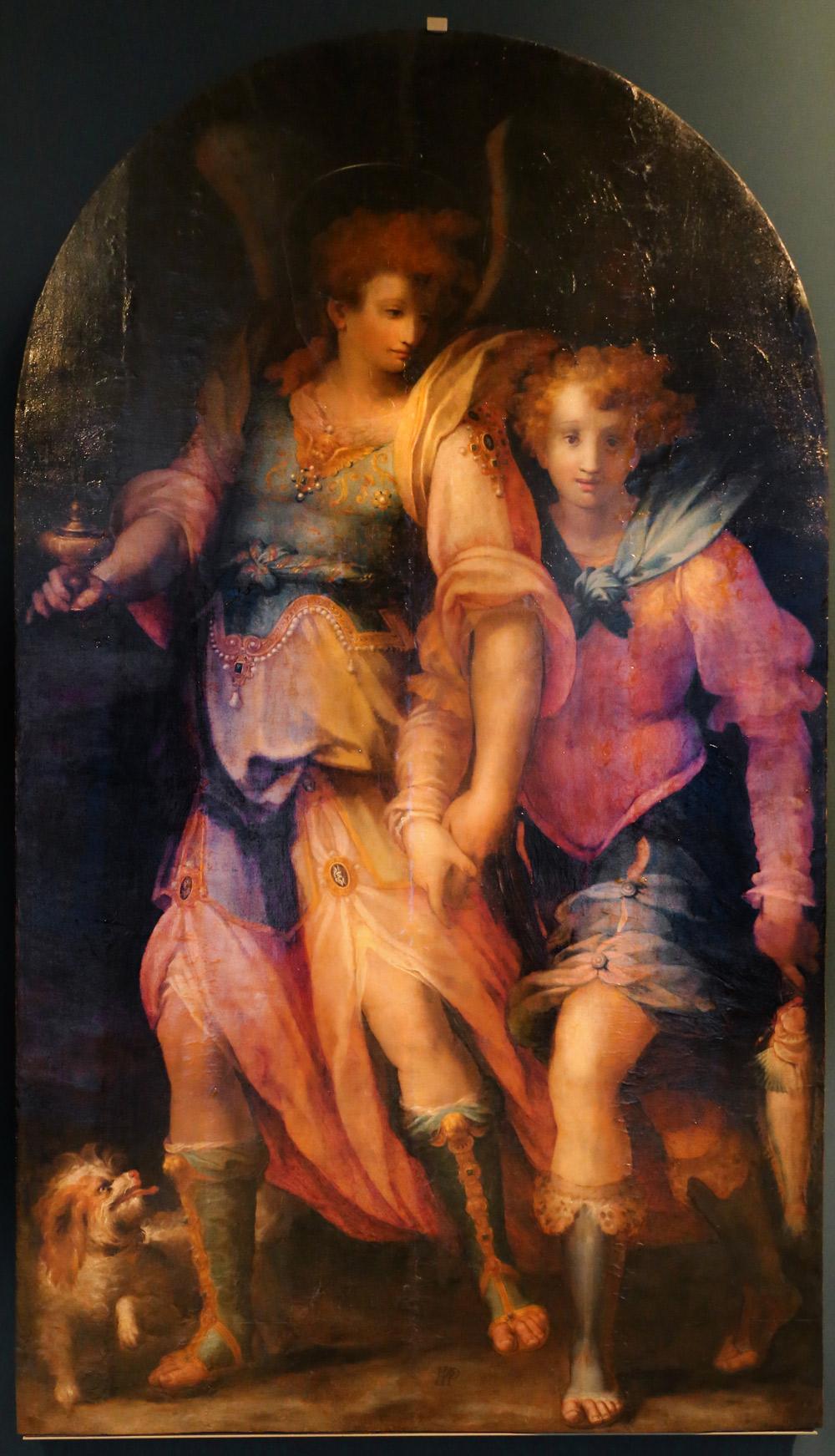 Francesco Morandini detto il Poppi, Tobia e l'angelo (1572-1573; olio sus tavola, 215 x 130 cm; Prato, Museo Civico di Palazzo Pretorio)