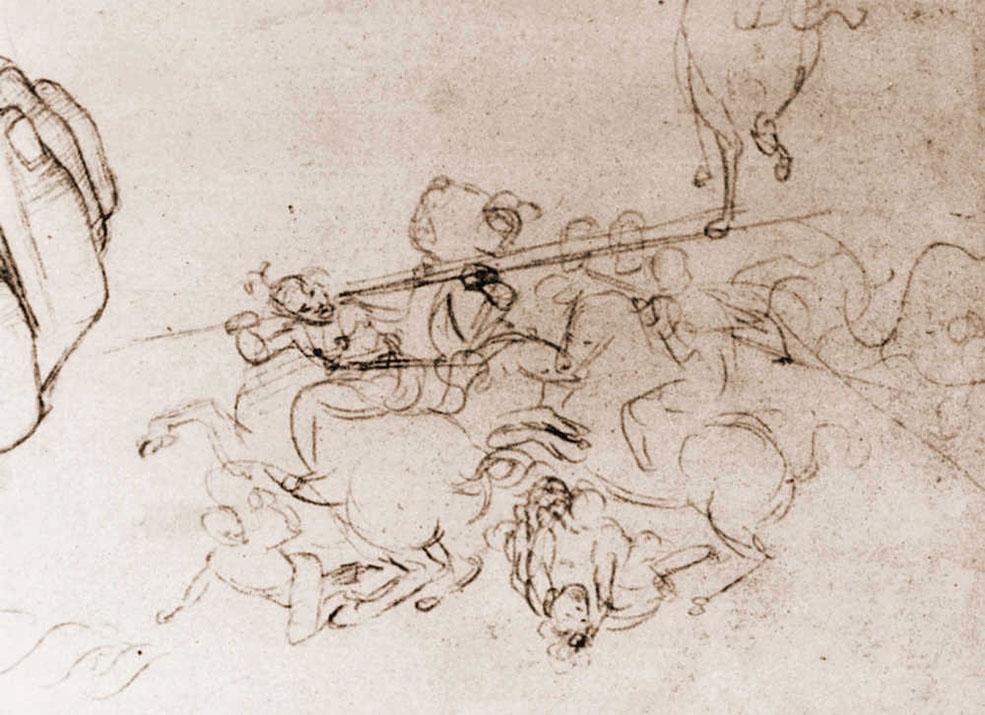 Raffaello Sanzio, Schizzo della Battaglia di Anghiari (1503-1505 circa; disegno a punta d'argento, 211 x 274 mm; Oxford, Ashmolean Museum)