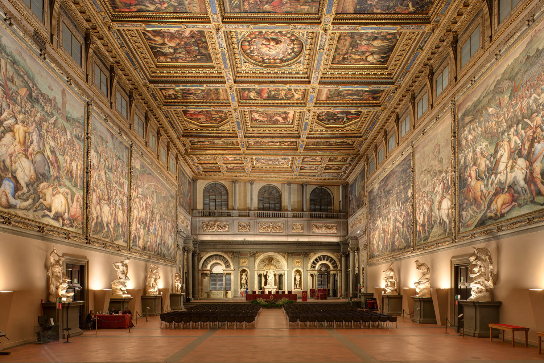 Il Salone dei Cinquecento in Palazzo Vecchio a Firenze. Ph. Credit Targetti Sankey