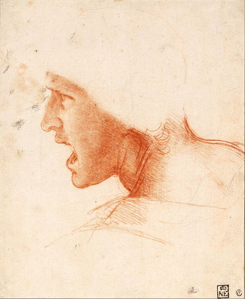 Leonardo da Vinci, Testa di cavaliere, studio per la Battaglia di Anghiari (1503 circa; gessetto rosso e nero su carta rosa, 227 x 186 mm; Budapest, Szépművészeti Múzeum)