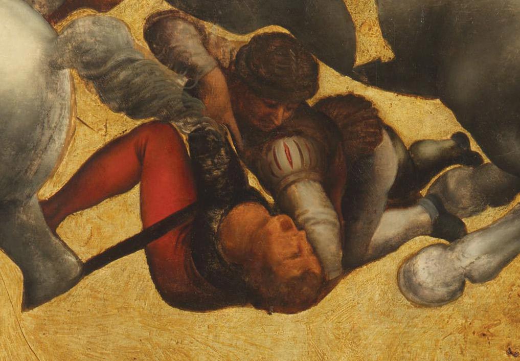Dettagli della Tavola Doria: i soldati che lottano a terra