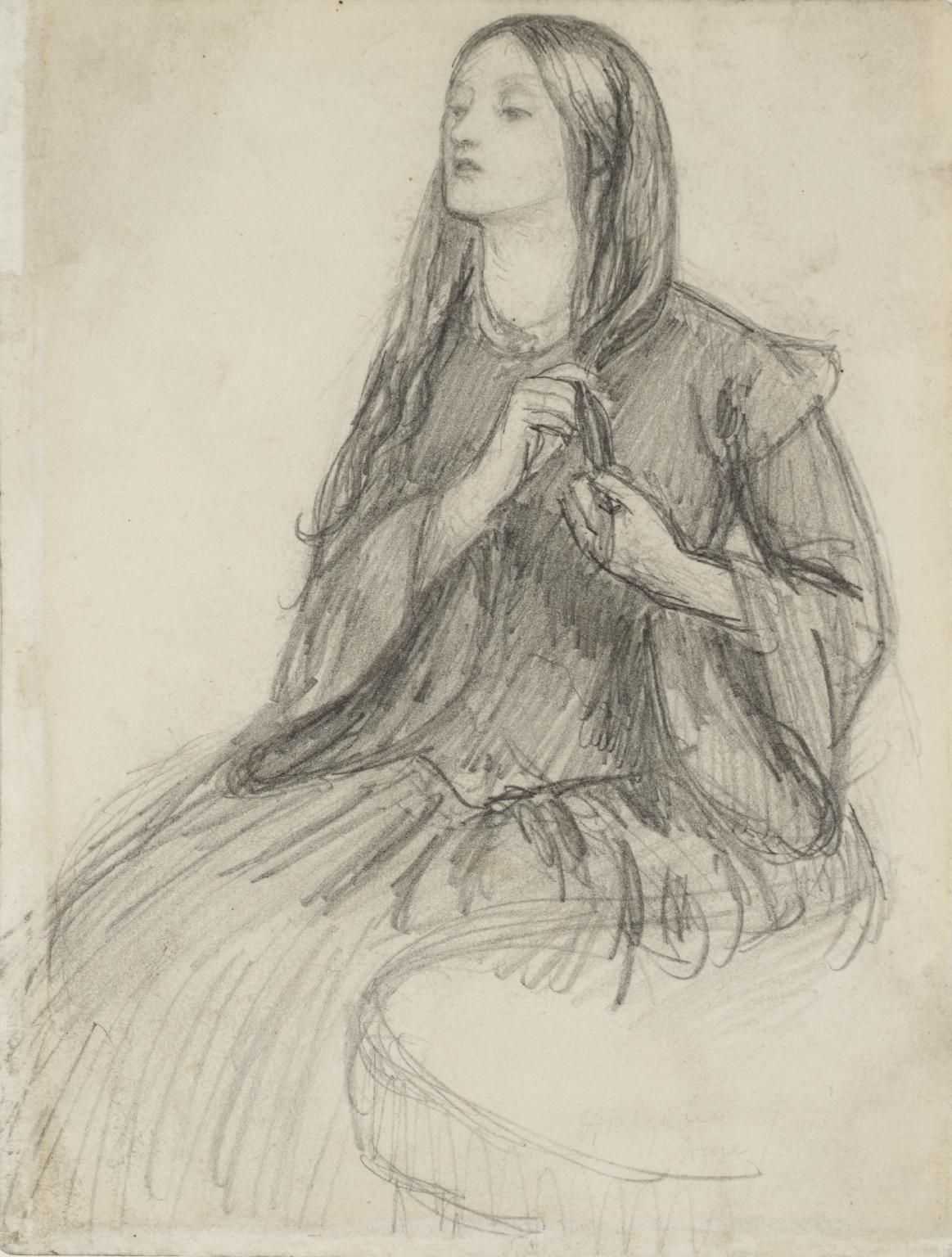 Dante Gabriel Rossetti, Elizabeth Siddal si fa la treccia (1855 circa; grafite su carta, 17,1 x 12,7 cm; Londra, Tate Britain)