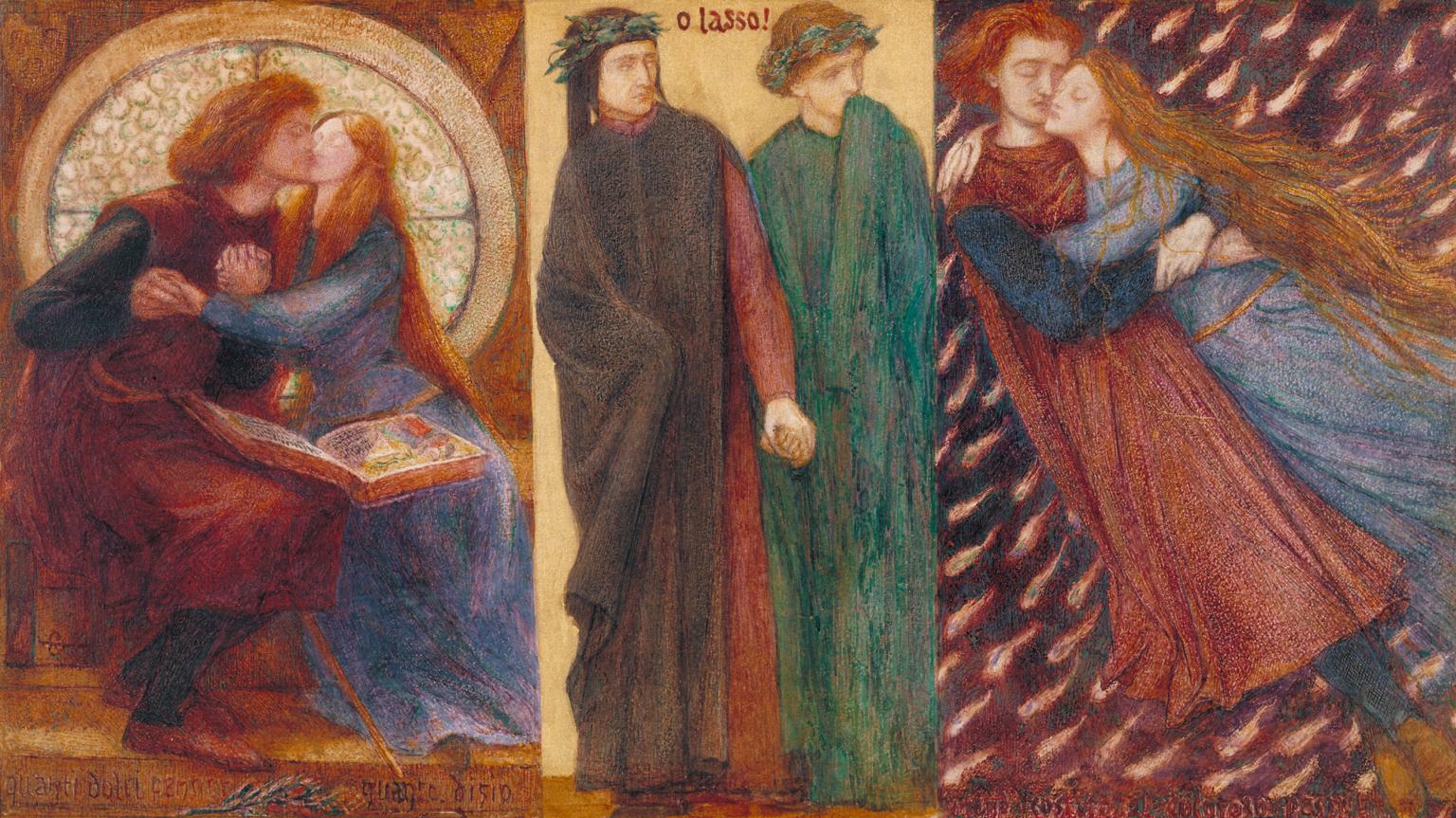 Dante Gabriel Rossetti, Paolo e Francesca da Rimini (1855; acquerello su carta, 25,4 x 44,9 cm; Londra, Tate Britain)
