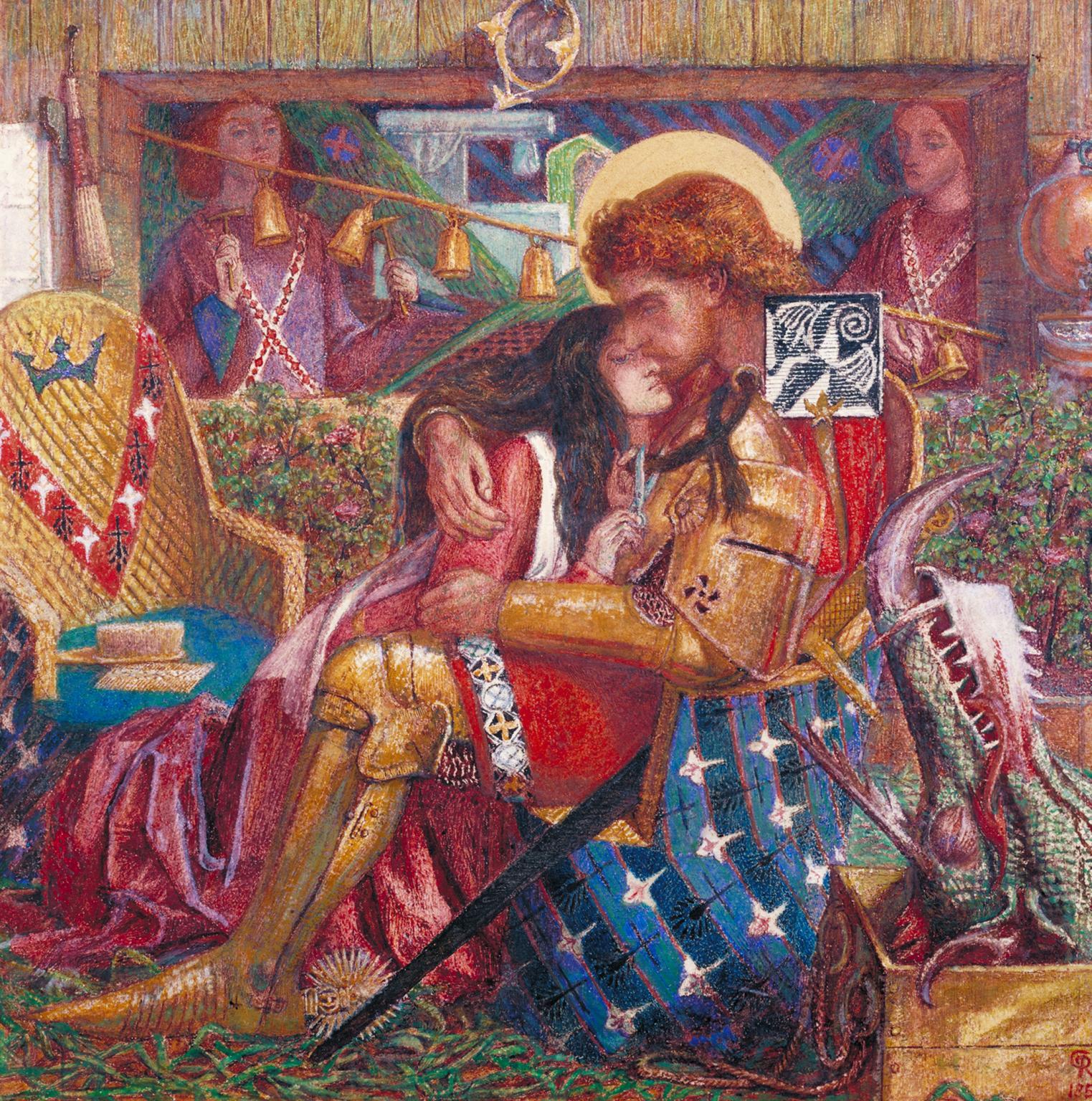 Dante Gabriel Rossetti, Le nozze di san Giorgio e della principessa Sabra (1857; acquerello su carta, 36,5 x 36,5 cm; Londra, Tate Britain)