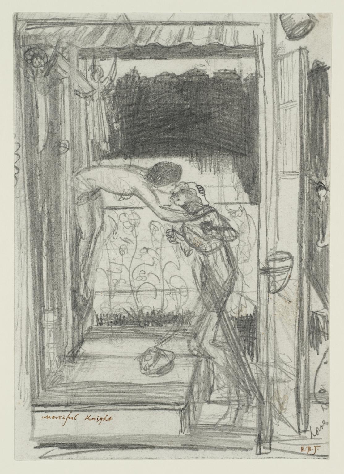 Edward Burne-Jones, Studio di composizione per Il cavaliere misericordioso (1863 circa; grafite su carta, 25,2 x 15,3 cm; Londra, Tate Britain)