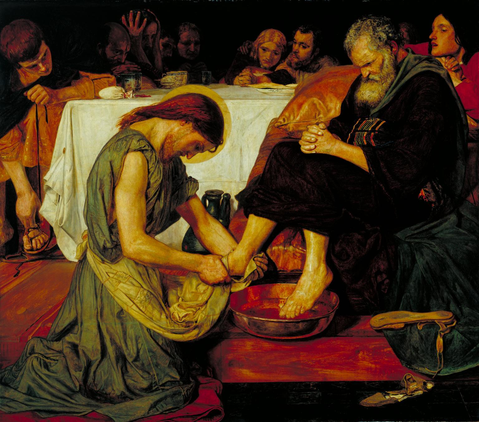 Ford Madox Brown, Gesù lava i piedi di Pietro (1852-1856; olio su tela, 116,8 x 133,3 cm; Londra, Tate Britain)