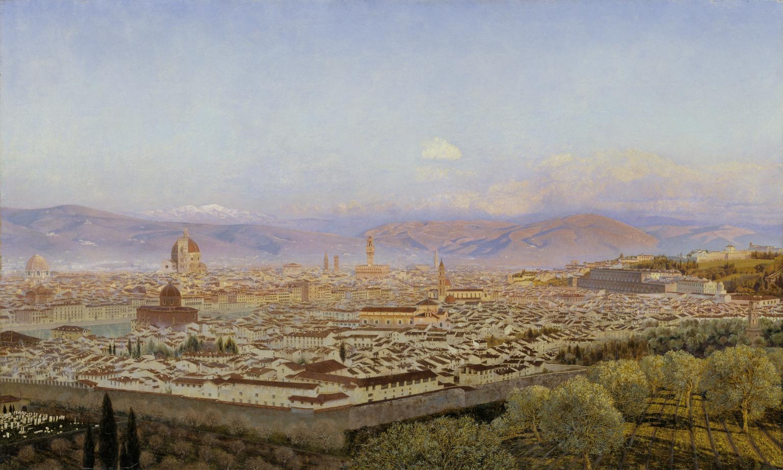 John Brett, Veduta di Firenze da Bellosguardo (1863; olio su tela, 60 x 101,3 cm; Londra, Tate Britain)