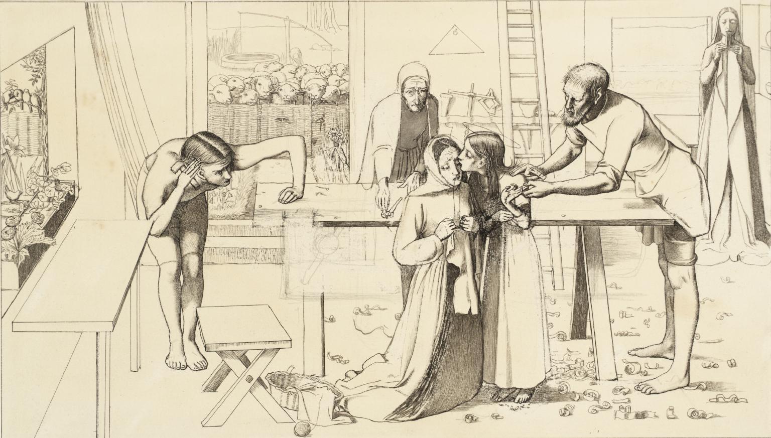John Everett Millais, Studio per Cristo in casa dei suoi genitori (1849 circa; grafite su carta, 19 x 33,7 cm; Londra, Tate Britain)