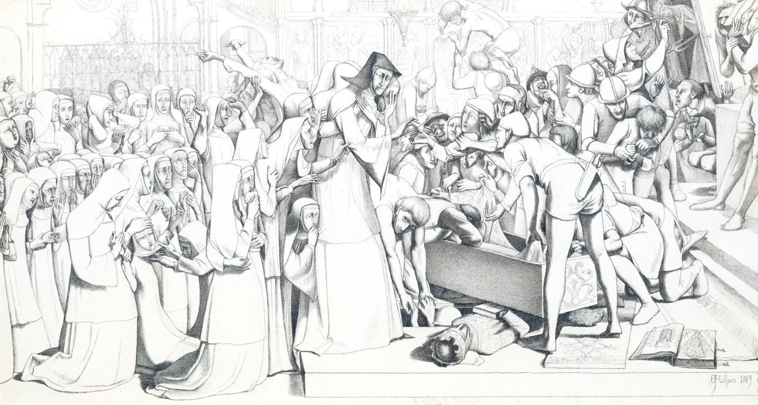 John Everett Millais, Il disseppellimento della regina Matilda (1849; inchiostro su carta, 22,9 x 42,9 cm; Londra, Tate Britain)