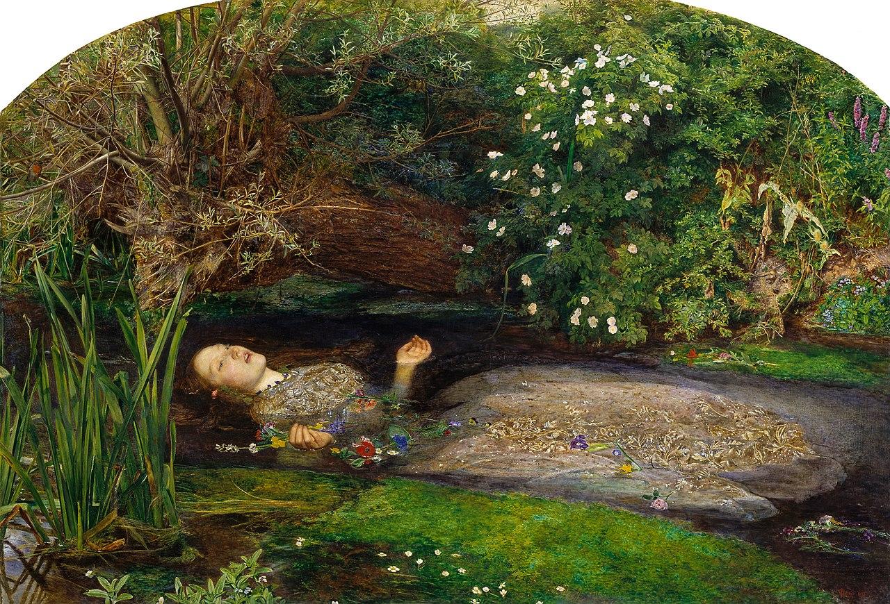 John Everett Millais, Ofelia (1851-1852; olio su tela, 76,2 x 111,8 cm; Londra, Tate Britain)