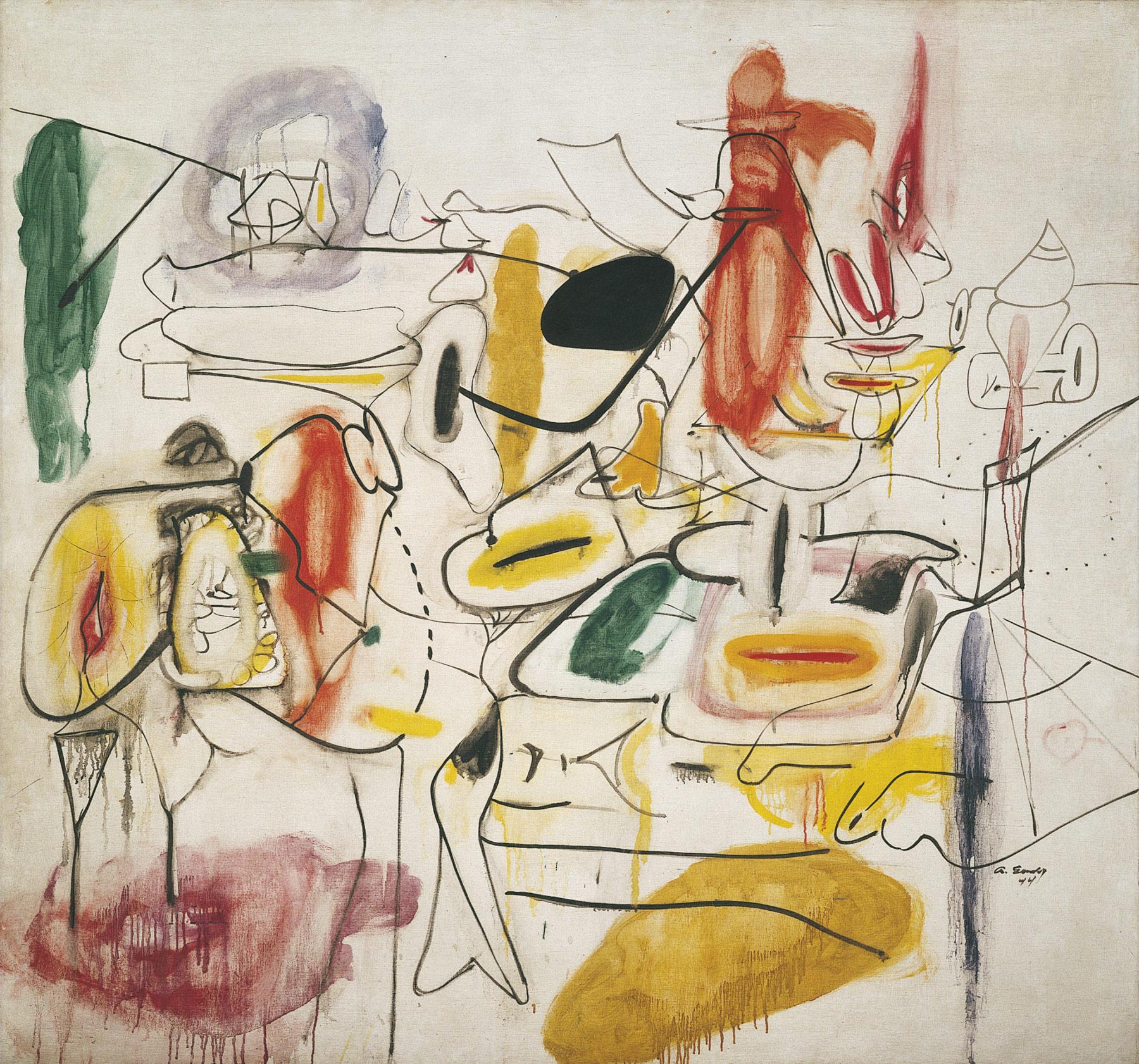 Arshile Gorky, Senza titolo (estate 1944; olio su tela, 167 x 178,2 cm; Venezia, Collezione Peggy Guggenheim)
