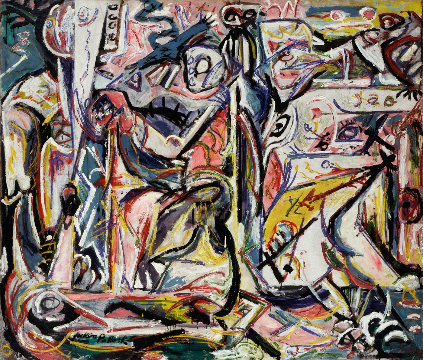 Jackson Pollock, Circoncisione(gennaio 1946; olio su tela, 142,3 x 168 cm; Venezia, Collezione Peggy Guggenheim) © Pollock-Krasner Foundation / Artists Rights Society (ARS), New
