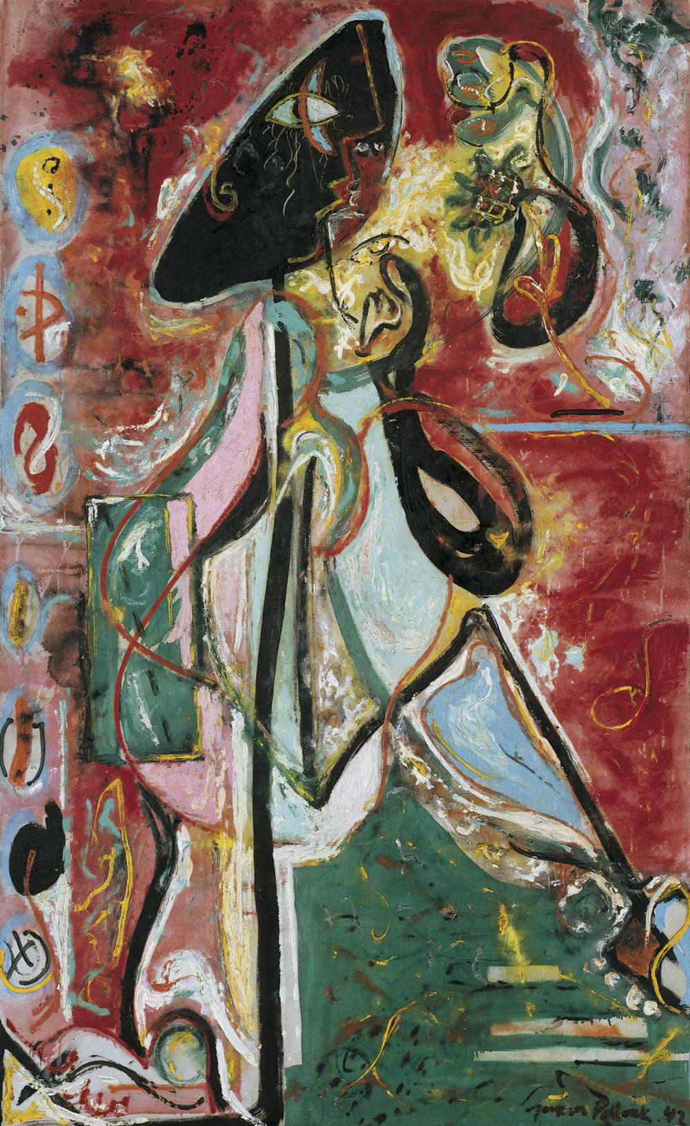 Jackson Pollock, La donna luna(1942; olio su tela, 175,2 x 109,3 cm; Venezia, Collezione Peggy Guggenheim) © Pollock-Krasner Foundation / Artists Rights Society (ARS), New