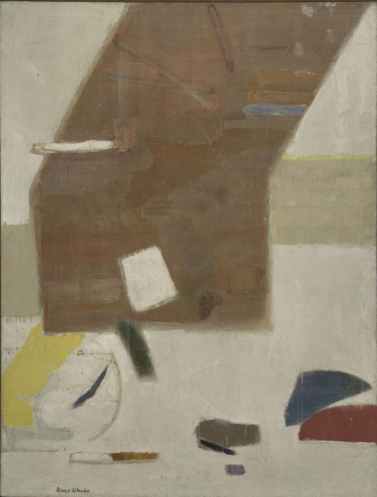 Kenzo Okada, Sopra il bianco(1960; olio su tela, 127,3 x 96,7 cm; Venezia, Collezione Peggy Guggenheim)