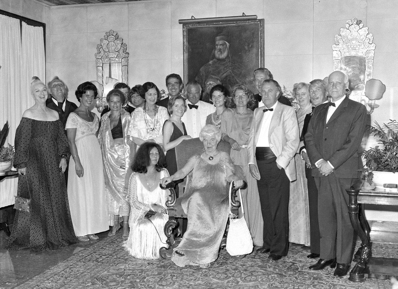 Peggy Guggenheim al Gritti Palace in occasione della festa per il suo 80° compleanno, Venezia, 26 agosto 1978. © Gianfranco Tagliapietra Interpress Photo.