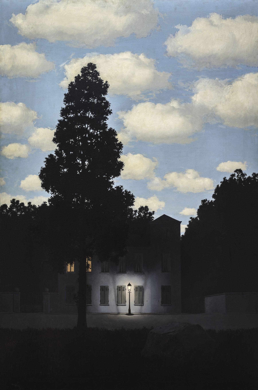 René Magritte, L'impero della luce (L'Empire des lumières) (1953–54; olio su tela, 195,4 x 131,2 cm; Venezia, Collezione Peggy Guggenheim) © René Magritte, by SIAE 2019