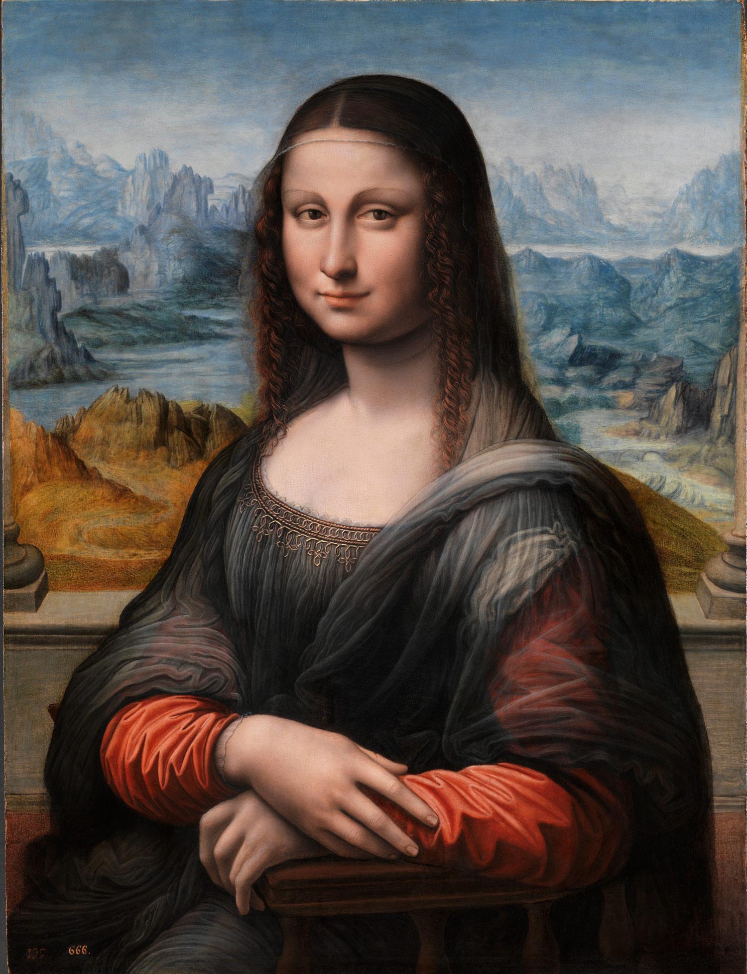 Bottega di Leonardo, Copia della Gioconda (olio su tavola, 76,3 x 57 cm; Madrid, Prado)