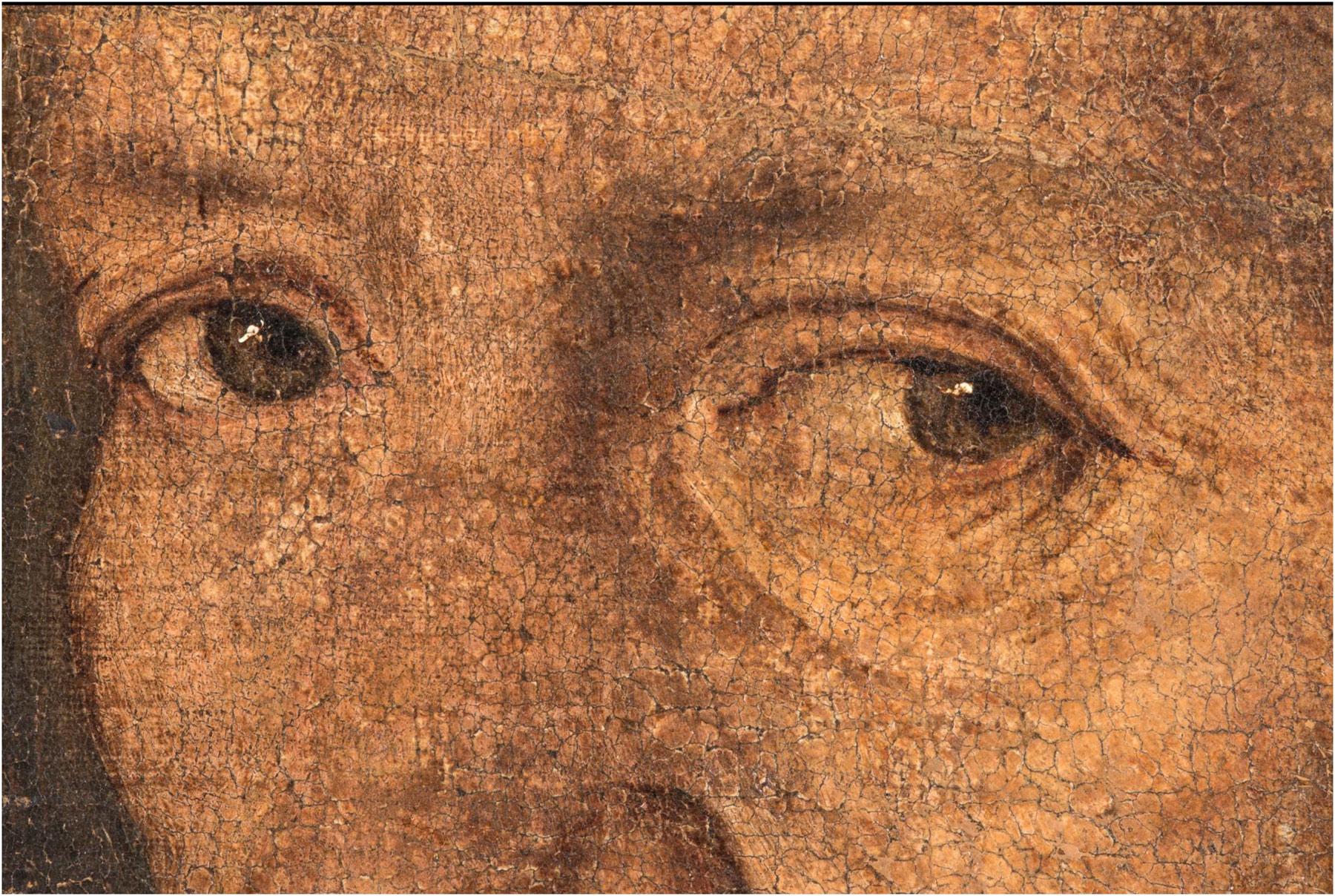 Giorgione, La Vecchia, macrofotografie degli occhi nel visibile