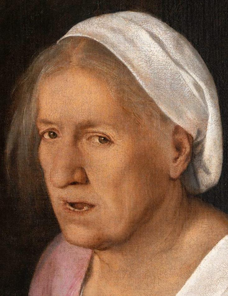 Giorgione, La Vecchia, dopo il restauro, dettaglio del volto della donna