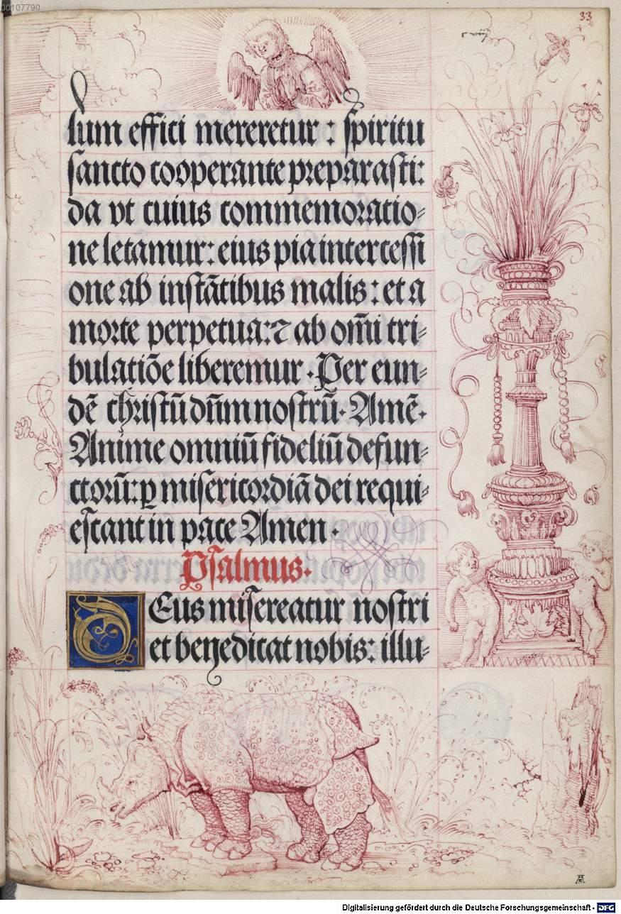 Bottega di Albrecht Altdorfer, Rinoceronte, dal Libro d'Ore di Massimiliano I, fol. 33v (1515; Besançon, Bibliothèque Municipale)