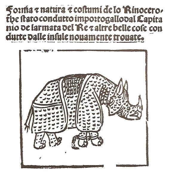 Giovanni Giacomo Penni, Forma e natura e costumi de lo Rinocerothe (1515; stampa; Siviglia, Biblioteca Colombina)