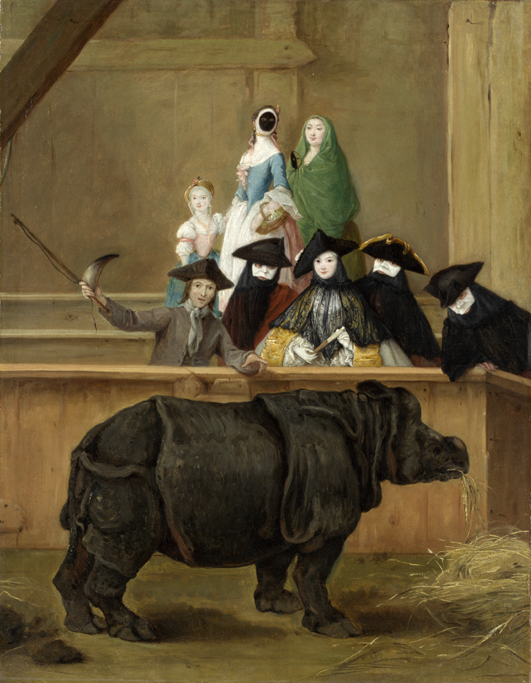 Pietro Longhi, Il rinoceronte (1751; olio su tela, 62 x 50 cm; Venezia, Ca' Rezzonico, Museo del Settecento Veneziano)