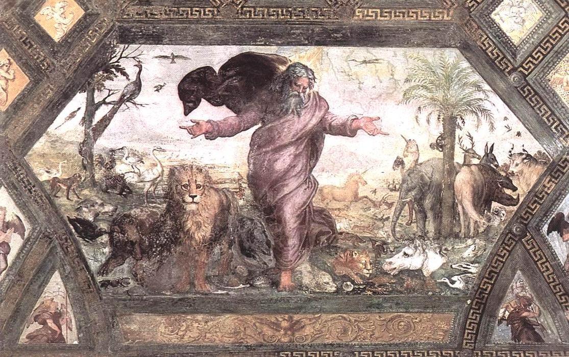 Raffaello e Giovanni da Udine, Creazione degli animali (1518-1519; affresco; Città del Vaticano, Logge Vaticane)