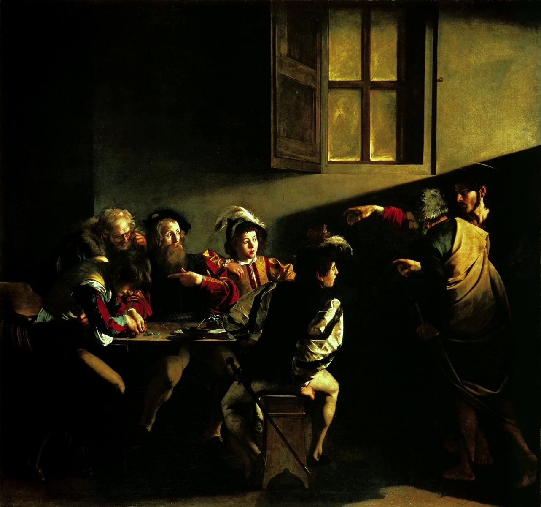 Caravaggio, Vocazione di san Matteo (1599-1600; olio su tela, 322 x 340 cm; Roma, San Luigi dei Francesi, Cappella Contarelli)