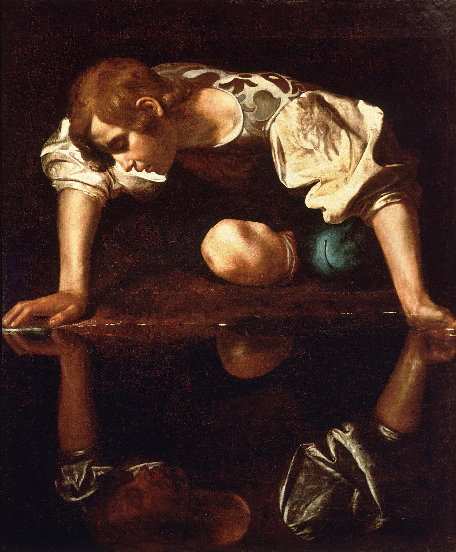 Caravaggio o Giovanni Antonio Galli detto lo Spadarino, Narciso (1597-1599 o 1645; olio su tela, 112 x 92 cm; Roma, Galleria Nazionale d'Arte Antica di Palazzo Barberini)