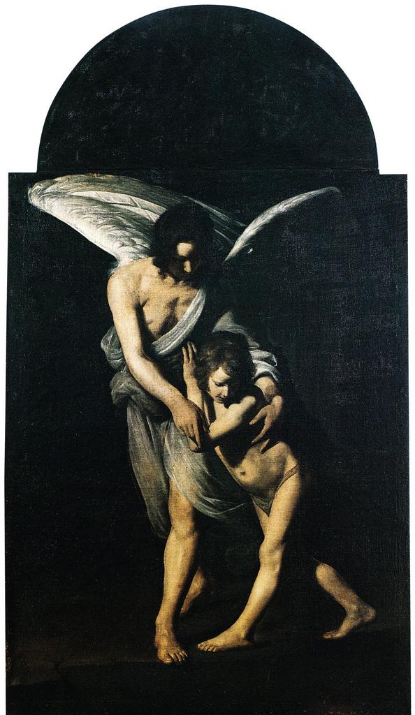 Giovanni Antonio Galli detto lo Spadarino, Angelo custode (1610-1620; olio su tela, 200 x 150 cm; Rieti, chiesa di San Ruffo)