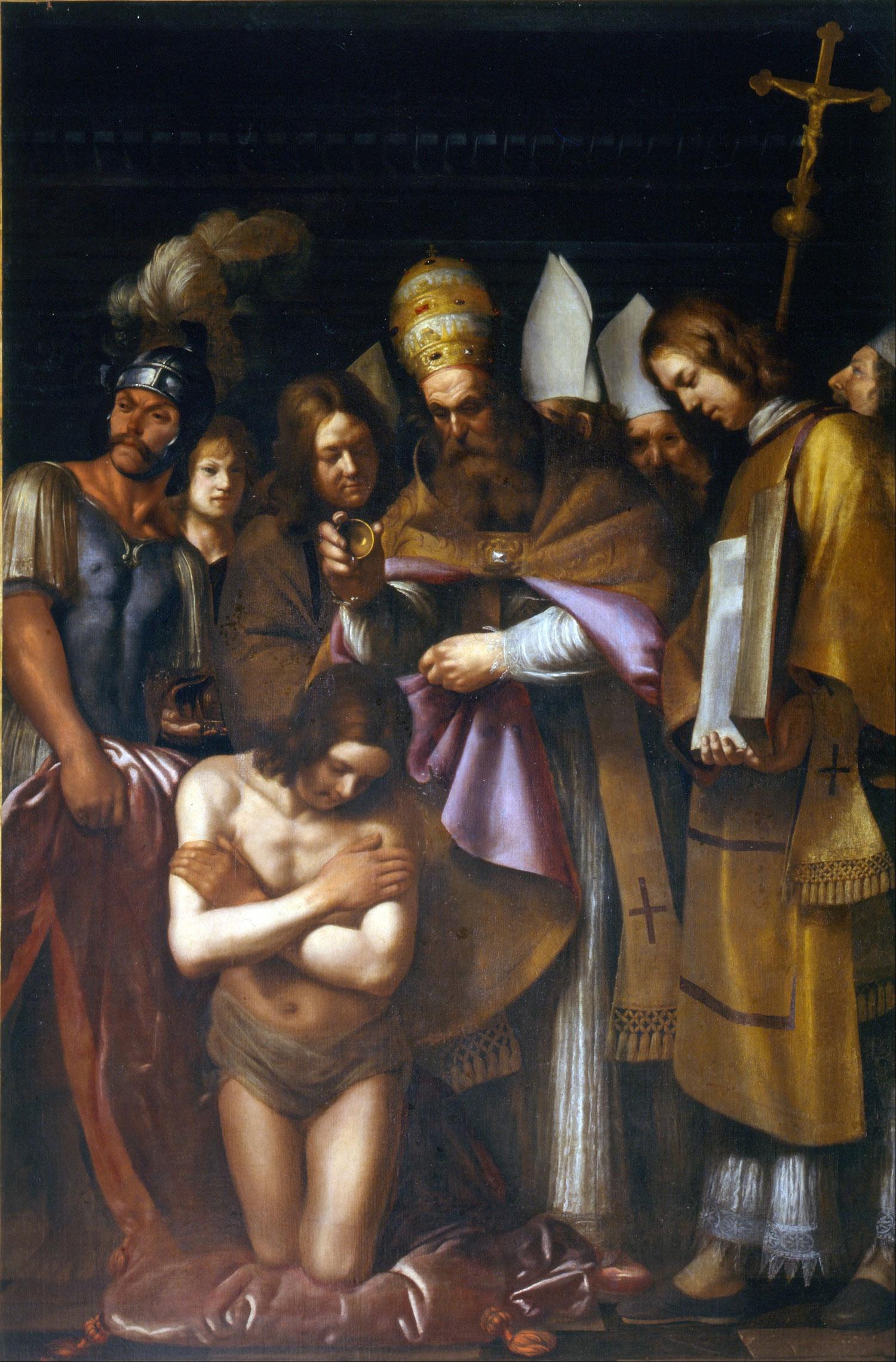 Giovanni Antonio Galli detto lo Spadarino, Battesimo di Costantino (olio su tela, 303 x 200,5 cm; Colle Val d'Elsa, Museo Civico)