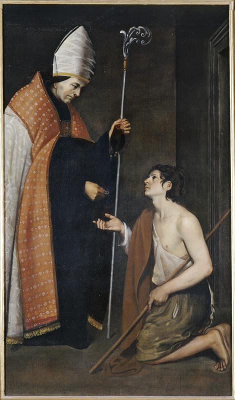 Giovanni Antonio Galli detto lo Spadarino (?), Elemosina di san Tommaso da Villanova (1620 circa; olio su tela, 192 x 112 cm; Ancona, Pinacoteca Civica Francesco Podesti)