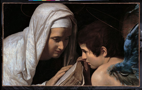 Giovanni Antonio Galli detto lo Spadarino, Santa Francesca Romana e l'angelo (primo quarto del XVI secolo; olio su tela, 42,5 x 69,7 cm; Roma, Collezione BNL)